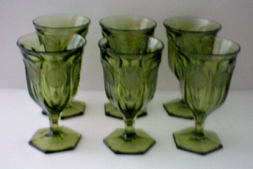 Fostoria Olive Green Coin Glass - Set of 6 Stems - 10.5