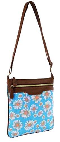 Ladies Handbag Cross-Body / Shoulder Bag Polka Dot, Daisy & Aztec Designs Daisy - LIGHT BLUE