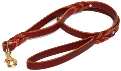 Signature K9 Double Handle Braided Leather Leash, 4-Feet x 3/4-Inch, Burgundy - Bike Glove Signature Womens