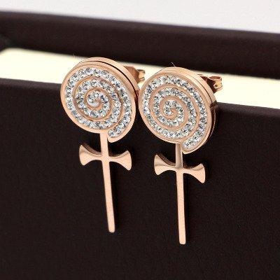 Ja and South Korea full of diamond cross earrings steel windmill female temperament with diamond lollipop earrings jewelry birthday gift (Cross Windmill)