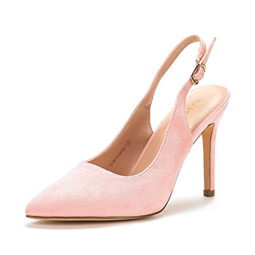 (DREAM PAIRS Women's Slim-Pointed Pink Suede High Heel Pump Shoes - 9 M)