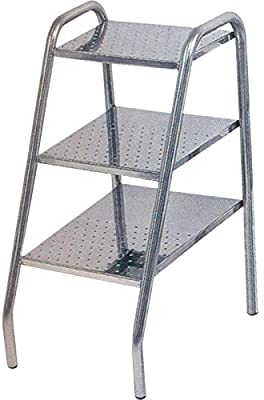 Escalera de acero inoxidable, escalera de pies, dimensiones 430 x 300 x 590 mm, acero inoxidable 18/10 (304L) peldaños antideslizantes punta diamante acabado pulido espejo: Amazon.es: Industria, empresas y ciencia