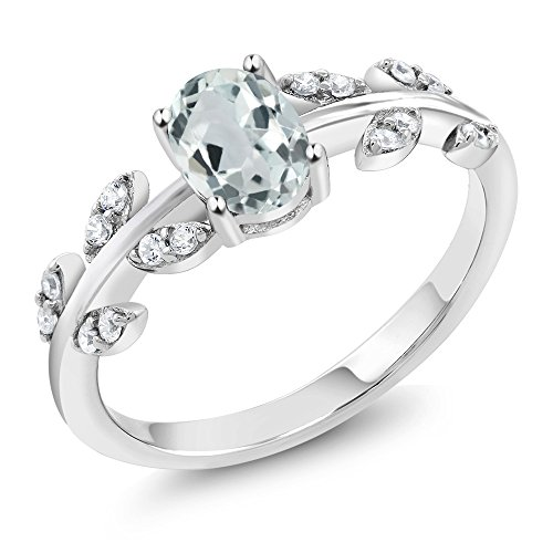 0.83 Ct Oval Sky Blue Aquamarine White Diamond 10K White Gold Olive Vine Ring (Available in size 5, 6, 7, 8, 9) by Gem Stone King