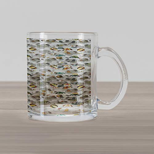 Lunarable Circus Glass Mug, Nursery Elephant Acrobats Performing Entertainment Playful Animals Show, Printed Clear Glass Coffee Mug Cup for Beverages Water Tea Drinks, Grey Pale Yellow Brown