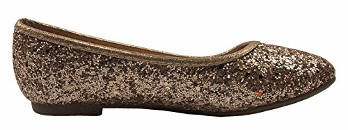 Girls Sequence Coverered Dress Ballet Flats Slip On Karra-29K, Rose Gold, 1 by Forever Collection (Image #2)