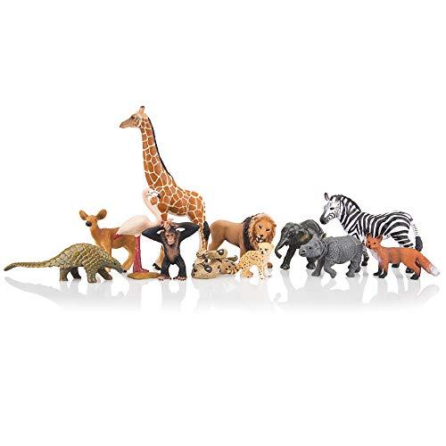 TOYMANY 12PCS Realistic Safari Animals & Zoo Animals Figurines, 2-6