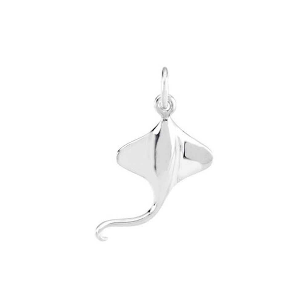 Sterling Silver 17mm Polished Stingray Charm