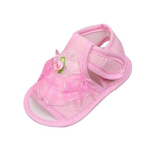 BZLine® Neugeborenen Baby Girls Krippe Schuhe Soft Sohle Anti-Slip Sneakers Flower Sandalen Pink