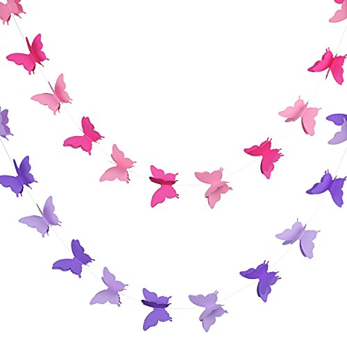 Blulu 2 Pieces 3D Paper Butterfly Banner Hanging Decorative Garland for Wedding, Baby Shower, Birthday and Theme Decor, 118 Inches Long, Pink and -