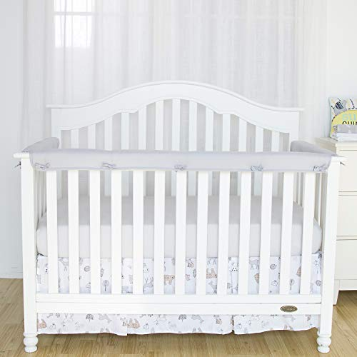 (TILLYOU 3-Piece Padded Baby Crib Rail Cover Protector Set from Chewing, Safe Teething Guard Wrap for Standard Cribs, 100% Silky Soft Microfiber Polyester, Fits Side and Front Rails, Pale)