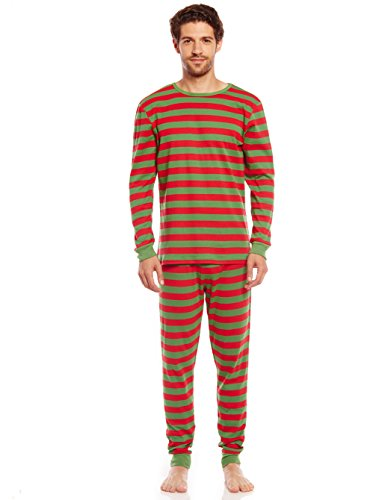 Leveret Mens Pajamas Fitted Striped Christmas 2 Piece Pjs Set 100% Cotton Sleep Pants (Red & Green Medium)