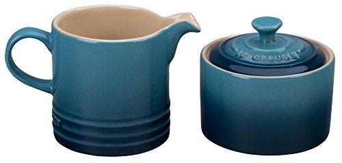 Blue Bowl Sugar - Le Creuset of America PG8005-106M Le Creuset Stoneware Cream and Sugar Set - Marine