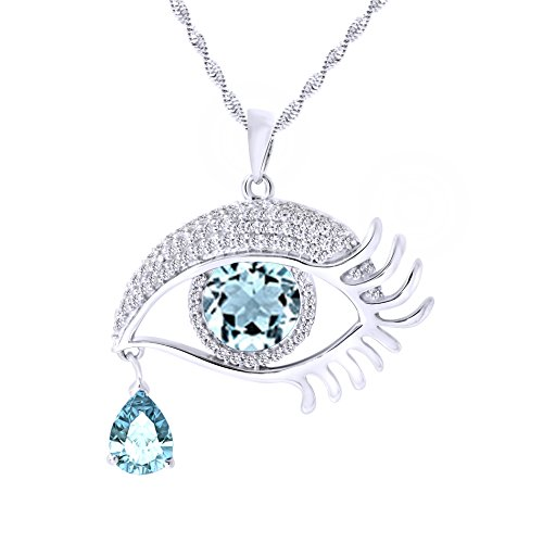 Vvs1 Eye - Angel's Eye Teardrop Cubic ZirconiaPendant Necklace In 14K White Gold Over Sterling Silver