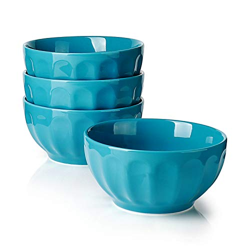 Sweese 1146 Porcelain Fluted Bowls - 26 Ounce for Cereal, Soup and Fruit - Set of 4, Steel blue