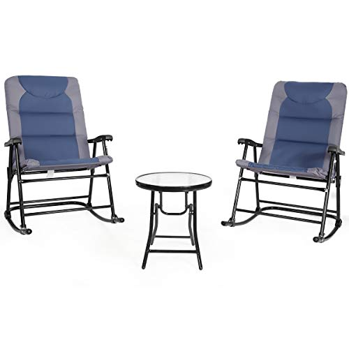 Giantex 3 PCS Folding Bistro Set Outdoor Patio Rocking Chairs Round Table Set 2 Rocking Chairs w Glass Coffee Table for Yard, Patio, Deck, Backyard Padded Seat Blue Gray