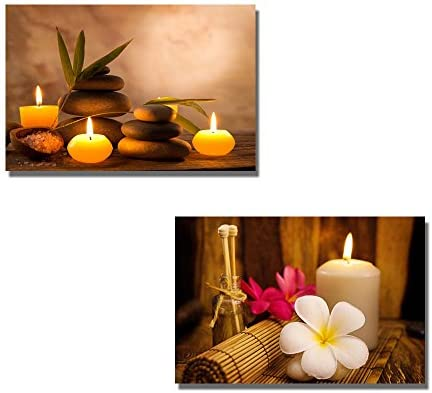 Spa Still Life with Aromatic Candles and Frangipani Wall Decor x 2 Panels