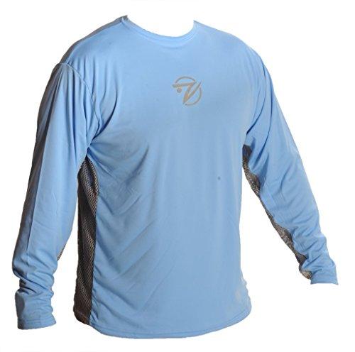 Breathe Like A Fish Men's Long Sleeve Shirt, High Pressure Blue/Grey Mesh, Small