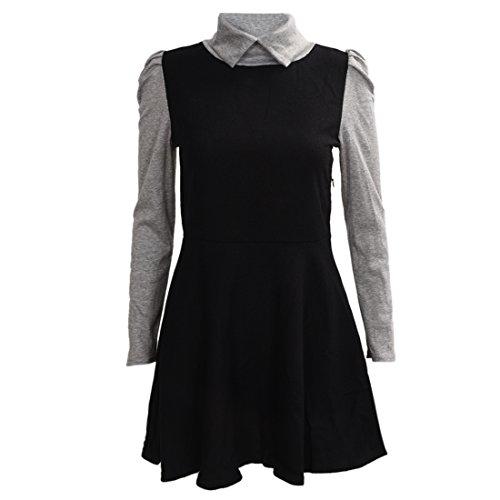 Robe - TOOGOO(R)Robe de col de Peter Pan manches longues Pull tricote slim pour femmes noir M