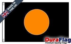duraflag® Negro con Naranja círculo pequeño bandera de calidad profesional (puerta y Cambiadas)