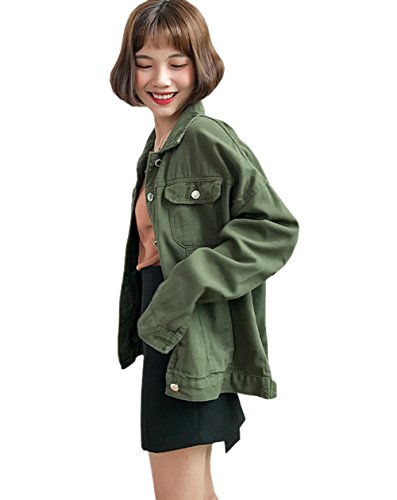 Plain Retro XU Women's Denim Leisure Army green Loose Jacket TRENDY Tops aw7OTqUp
