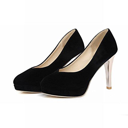 Charme Pied Femmes Mode Haute Talon Plateforme Stiletto Pompe Chaussures Noir