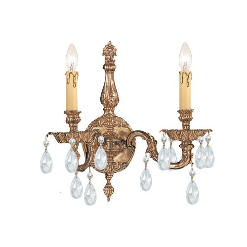- Olde World 2 Light Candle Wall Sconce Crystal Type: Swarovski Spectra