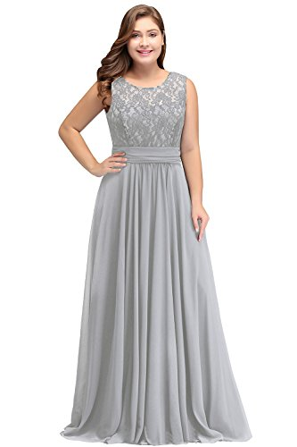 Womens Sheer Lace Long Mother of The Bride Dresses Plus Size,Silver 16W