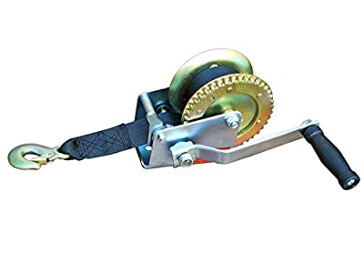 "Marine Trailer Crank Hand Winch for Boats 600 Lbs with Strap Manual - 17' long x 2"" . Five Oceans BC-1782"