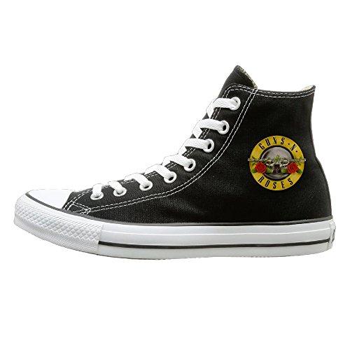 Tracy Guns N' Roses Logo Prevent Slippery Unisex Flat Canvas High Top Sneaker 40 Black