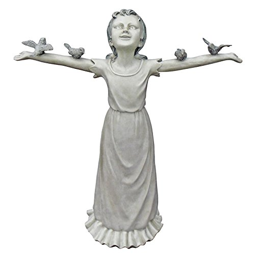 Design Toscano Basking in God's Glory Little Girl Outdoor Garden Statue, Large, 29 Inch, Polyresin, Two Tone ()