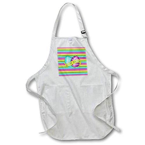 3dRose Beverly Turner Easter Design and Photography - Bright Aqua Green, Purple Eggs, Banner, Happy Easter, Striped Design - Full Length Apron with Pockets 22w x 30l (Bright Aqua Apparel)
