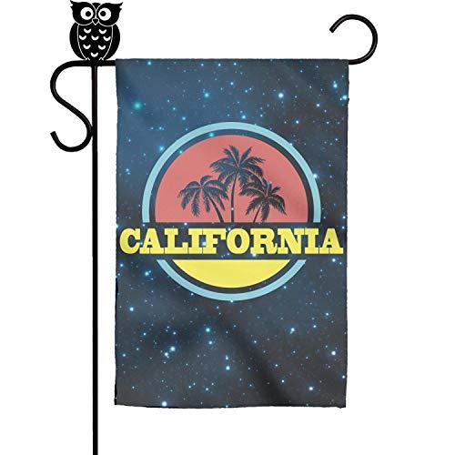 BoDu Graphic Vintage Cali Beach Palm Tree Garden Flag Yard Home Flag 18 x 12.5 Inch