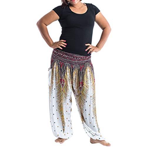 (CCatyam Plus Size Yoga Pants for Women, Baggy Wide Leg Trousers Boho Print Loose Sexy Casual Fashion White)
