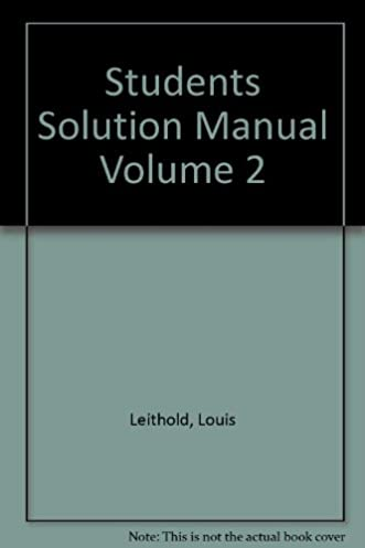the calculus student solutions manual volume 2 louis leithold rh amazon com