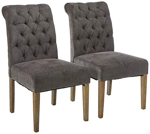 Christopher Knight Home 211601 Elmerson Dark Grey Linen Dining Chair Set of 2 ,