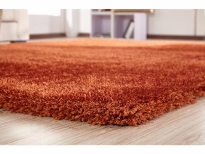 Contemporary Polyester Rug (LA RUG LINENS Shimmer Shag Rust Solid Modern Luster Ultra Thick Soft Plush Plain Area Rug 5 x 7 Contemporary Retro Polyester Textured Two Length 2