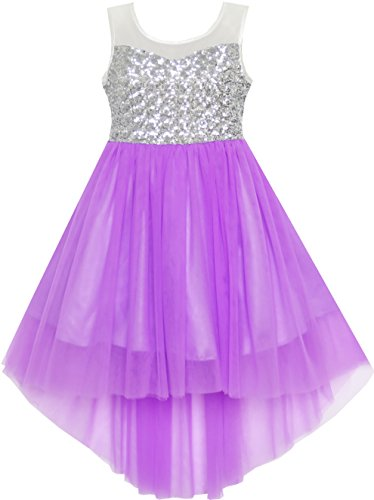 HK41 Girls Dress Sequin Mesh Party Wedding Princess Tulle Purple Size 7]()