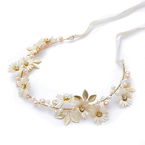 Open Buy - Headband doré avec fleurs blanches et perles