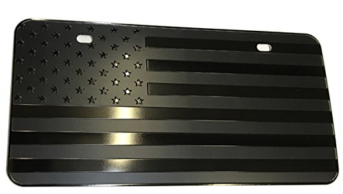 bparts USA Black Flag Metal Stamped Embossed License Plate 2 Hole (12