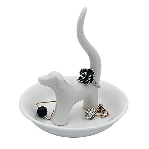 HOME SMILE Dog Jewelry Ring Dish Holder, Elegant Glazed Ceramic Engagement Wedding Ring Trinket Tray Stand