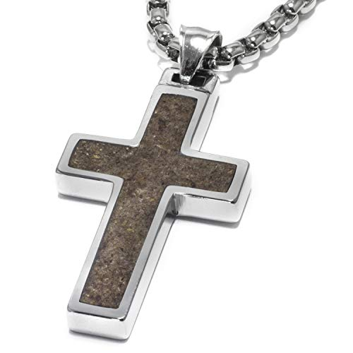 Unique GESTALT Antler Inlay Tungsten Cross Pendant. 4mm Surgical Stainless Steel Box Chain. 22 inch Chain.