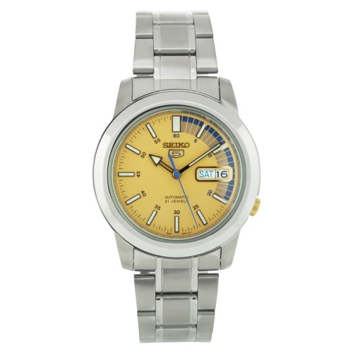 Seiko Men's SNKK29 Stainless Steel Analog with Gold Dial Watch (Seiko Yellow Bracelet)