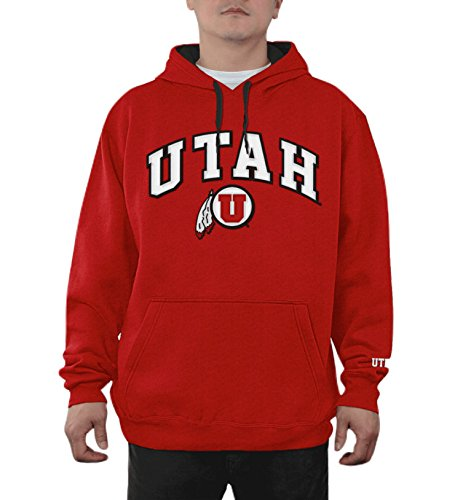 (Elite Fan Shop Top of The World Utah Utes Men's Hoodie Applique Arch, Red, X Large)