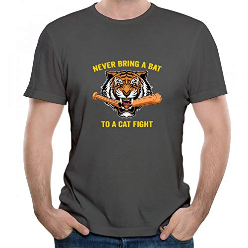 Dead Zombies Never Bring A Bat to A Cat Fight Tiger Graphic Men's/Unisex T-Shirt O-Neck Short Sleeve Tees Grey XXL