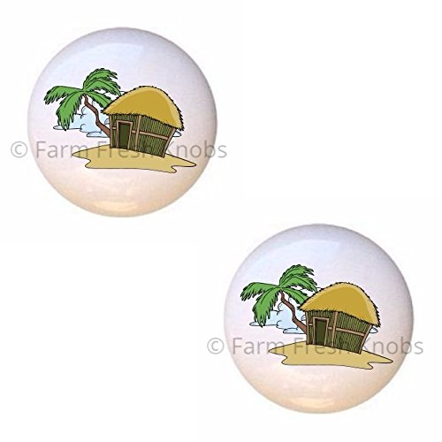 SET OF 2 KNOBS - Tiki Hut Palm Tree Island - Trees - DECORATIVE Glossy CERAMIC Cupboard Cabinet PULLS Dresser Drawer - The Outlet Hut
