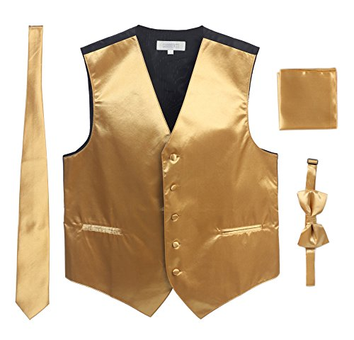 Men's Formal 4pc Satin Vest Necktie Bowtie and Pocket Square, Gold, 2X Large
