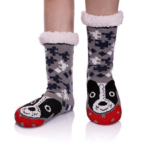 YEBING Women's Cute Knit Cartoon Animal Face Soft Warm Fuzzy Fleece Lining Winter Home Slipper Socks (Gray/Dog) ()