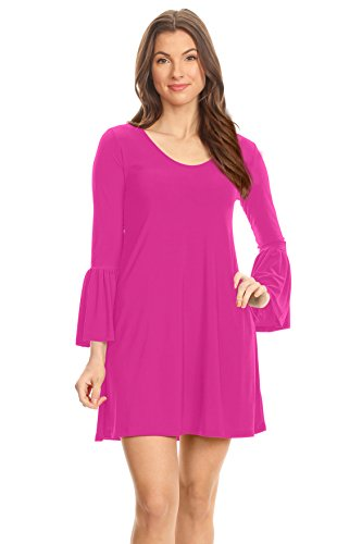 Magenta Short - Magenta Short Dress Magenta Swing Dress Ruffle Sleeve Dresses For Women,Medium