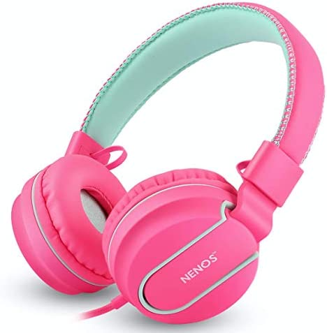 Nenos Kids Headphones Children`s Headphones Over Ear Headphones Kids Computer Volume Limited Headphones for Kids Foldable Girls (Lavender)