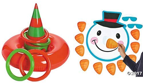 HAPPY DEALS ~ 2 Christmas Holiday Party Games - Elf Hat Inflatable Ring Toss - PIN The Nose on The Snowman - Kids Children's Activity - Classroom - School Daycare